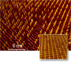 The structured surface of a tungsten single crystal (inset) limits the diffusion of cobalt atoms, which are trapped to form small clusters. The arrangement of these cobalt clusters is highly ordered, resembling the structure of the template, or
