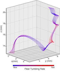 The plot above shows an experimentally measured trajectory of a fiber moving in intense turbulence, as it simultaneously moves, flips, and twists, much like a gymnast performing a floor routine. The individual rods show the orientation of the fiber at each point, with a red color indicating faster rotation speed.