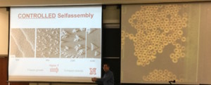 Dr. Enders demonstrates self-assembly in Cheerios (right) while presenting scanning tunneling microscopy (STM) images showing the self-assembly of silver atoms on a platinum substrate at various temperatures (left). (Click to enlarge.)