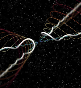Figure 1. Artist's rendition of helical waves produced when two quantum vortices collide. The collision is at the central point of the image.  (Credit: Enrico Fonda)