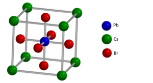 Fig. 2 (click to enlarge)  The crystalline structure of the perovskite CsPbBr3. Diagram courtesy of Ian Evans.