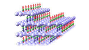 The antiferromagnet Cr2O3 with the magnetism of chromium atoms alternating between up and down.