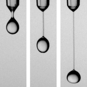 A falling droplet of soap solution with polymer added.
