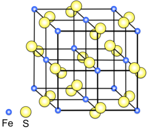 Pyrite crystal structure, with two sulfur atoms for each iron atom. (Wikimedia Commons)